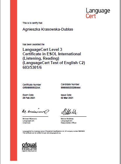 Egzamin Language cert